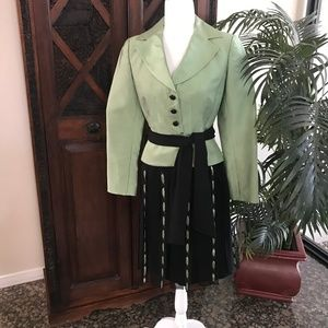 Kay Unger Sage and Black Suit Size 4